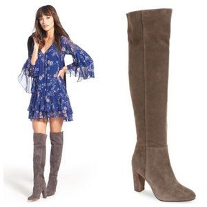 Halogen Noble Over the Knee Boots Grey Suede 7.5